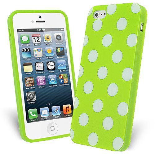 FlexiCase Skal till Apple iPhone 5/5S/SE - Polkadots (Grön)