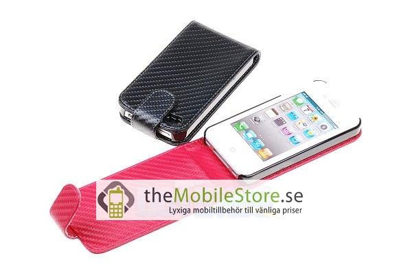 Carbon Fiber mobilväska till Apple iPhone 4S / 4 (Ljus Rosa)