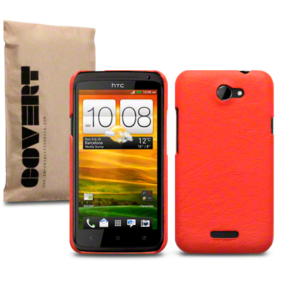 Covert Leather Pattern Baksideskal till HTC ONE X (Orange)