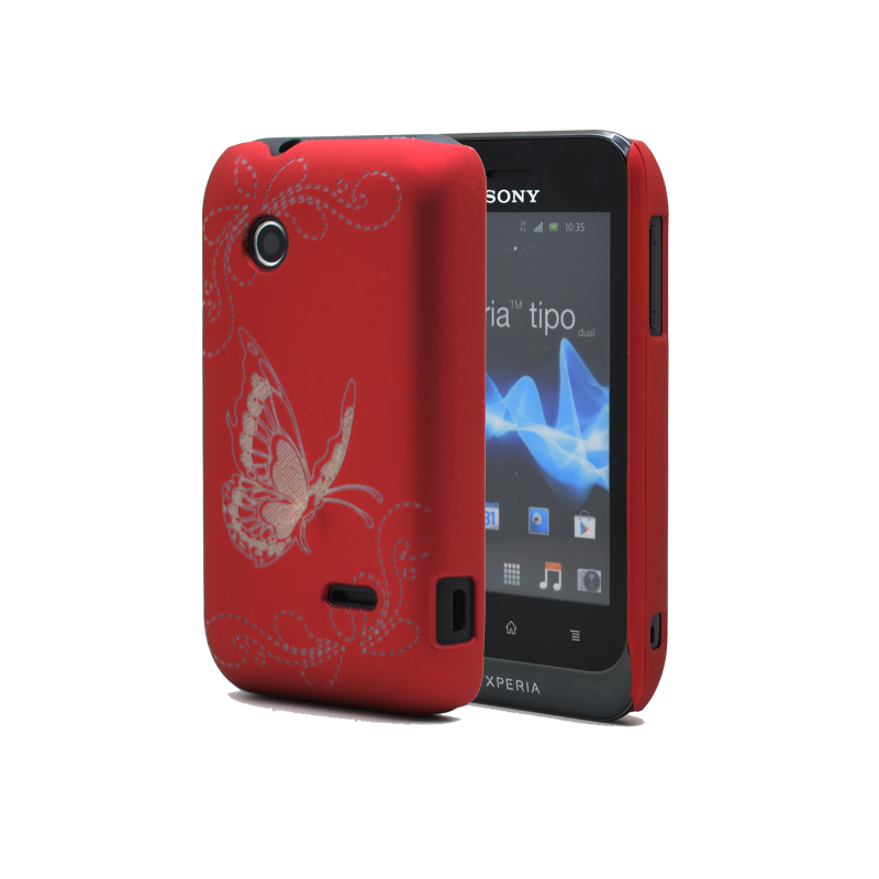 Butterfly Baksideskal till Sony Xperia Tipo ST21i - (Röd)