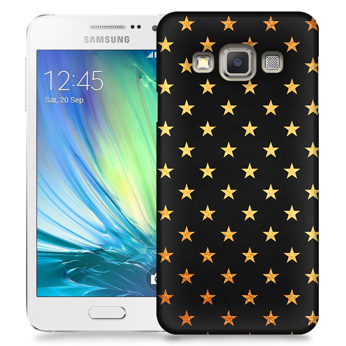 Skal till Samsung Galaxy A3 (2015) - Stjärnor - Guld/Svart