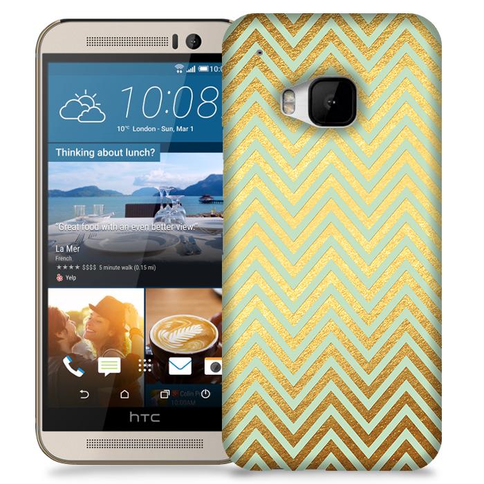 Skal till HTC M9 - Ränder - Guld/Mint