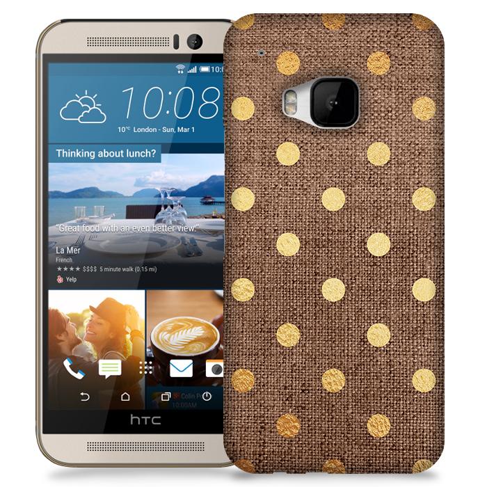 Skal till HTC M9 - Canvas Polka - Guld/Brun