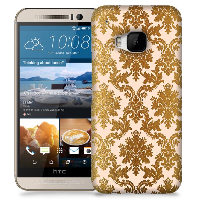 Skal till HTC M9 - Damask - Guld/Persika