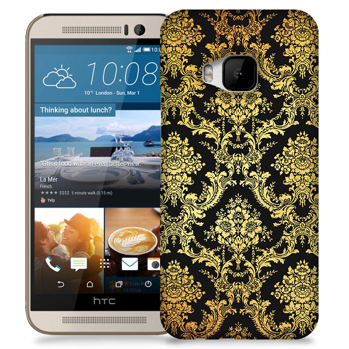 Skal till HTC M9 - Damask - Guld/Svart