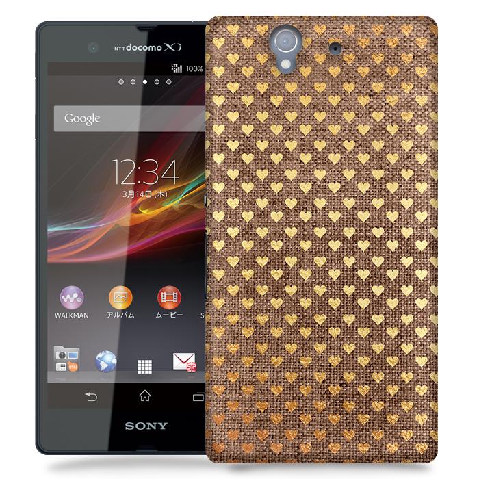 Skal till Sony Xperia Z - Canvas Hjärtan - Guld/Brun