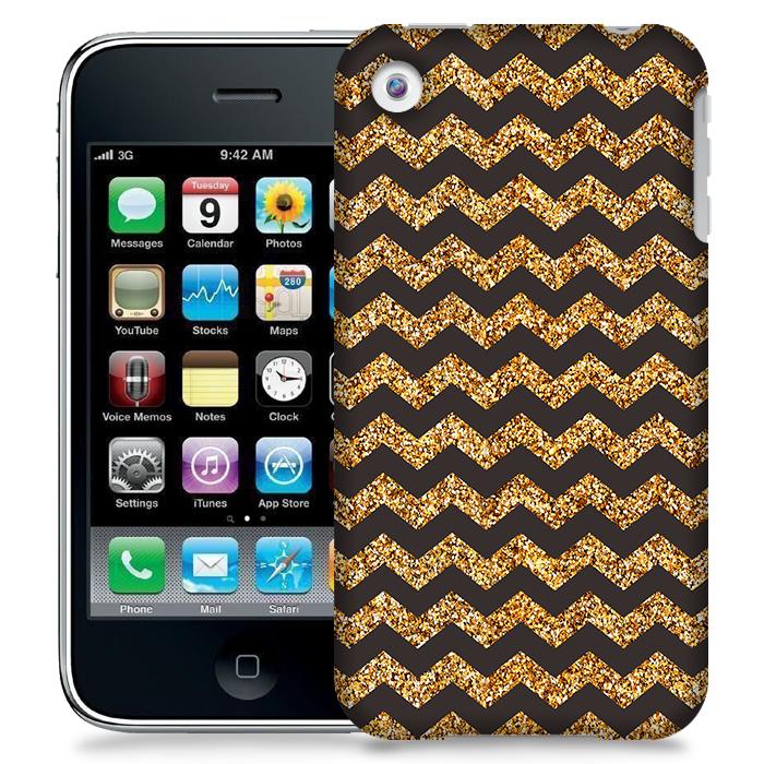 Skal till Apple iPhone 3GS - Ränder - Guld/Svart
