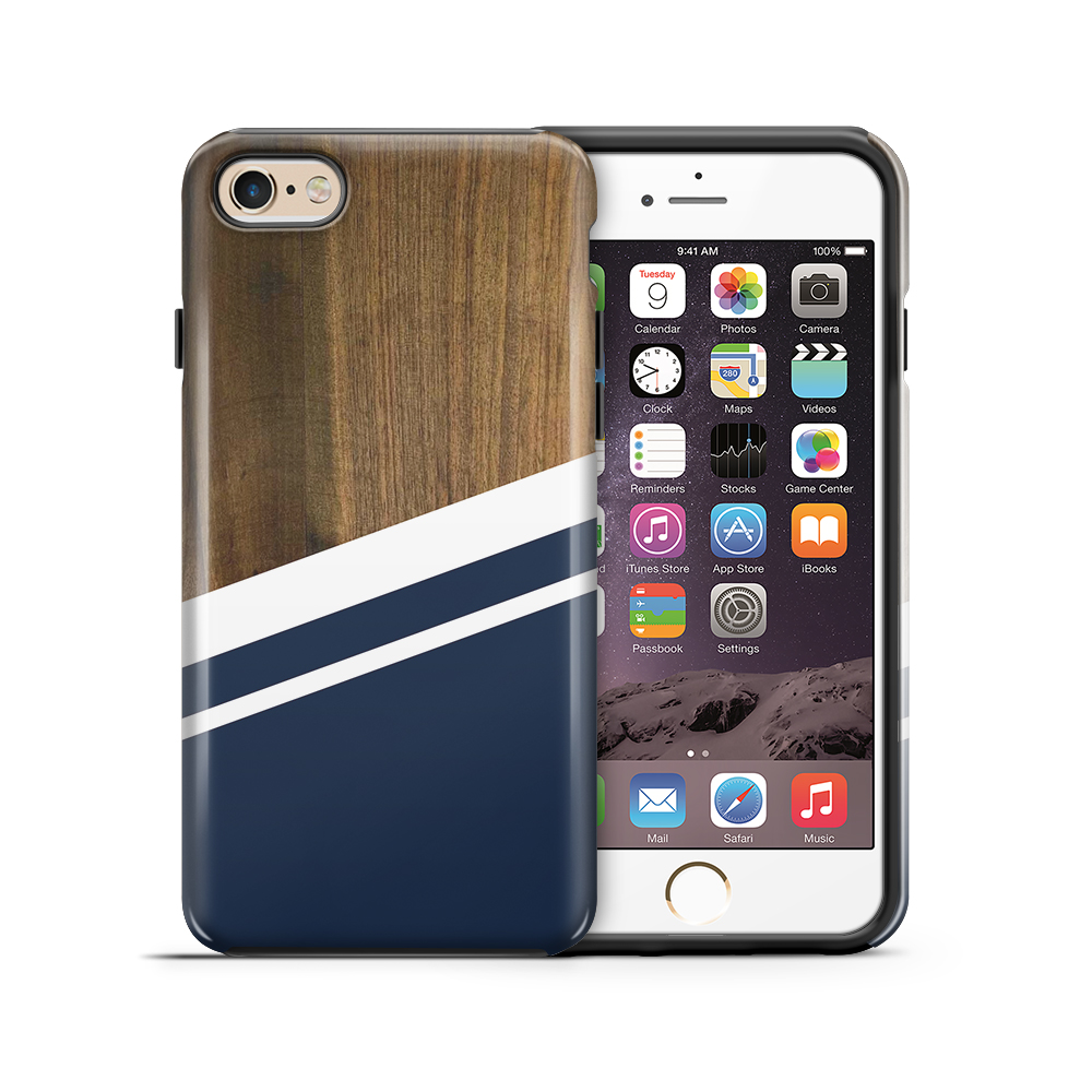 TheMobileStoreTough mobilskal till Apple iPhone 6(S) Plus - Wood ränder - Mörkblå