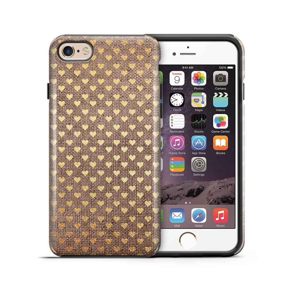 themobilestore-3Tough mobilskal till Apple iPhone 6(S) Plus - Canvas Hjärtan - Guld/Brun