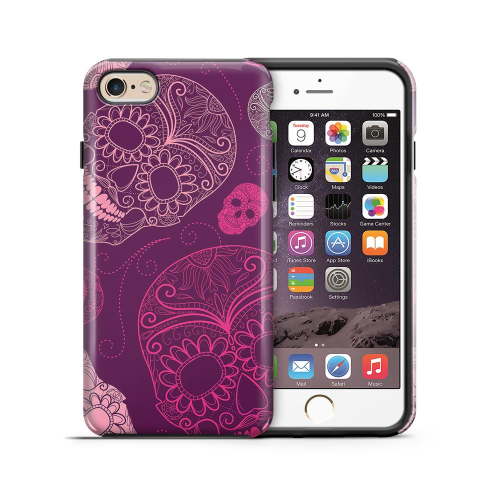 themobilestore-3Tough mobilskal till Apple iPhone 6(S) Plus - Glada dödskallar - Lila