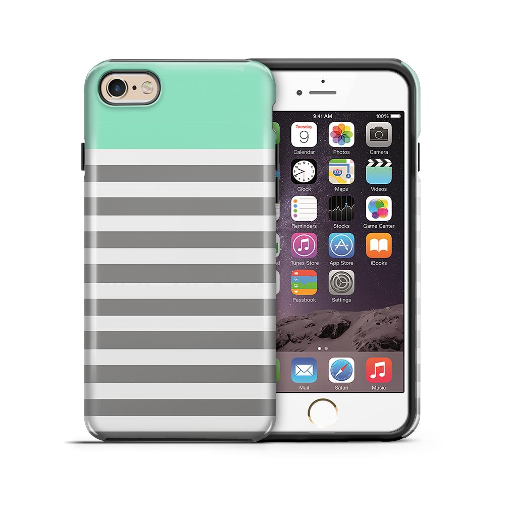 TheMobileStoreTough mobilskal till Apple iPhone 6(S) Plus - Ränder - Mint/Vit