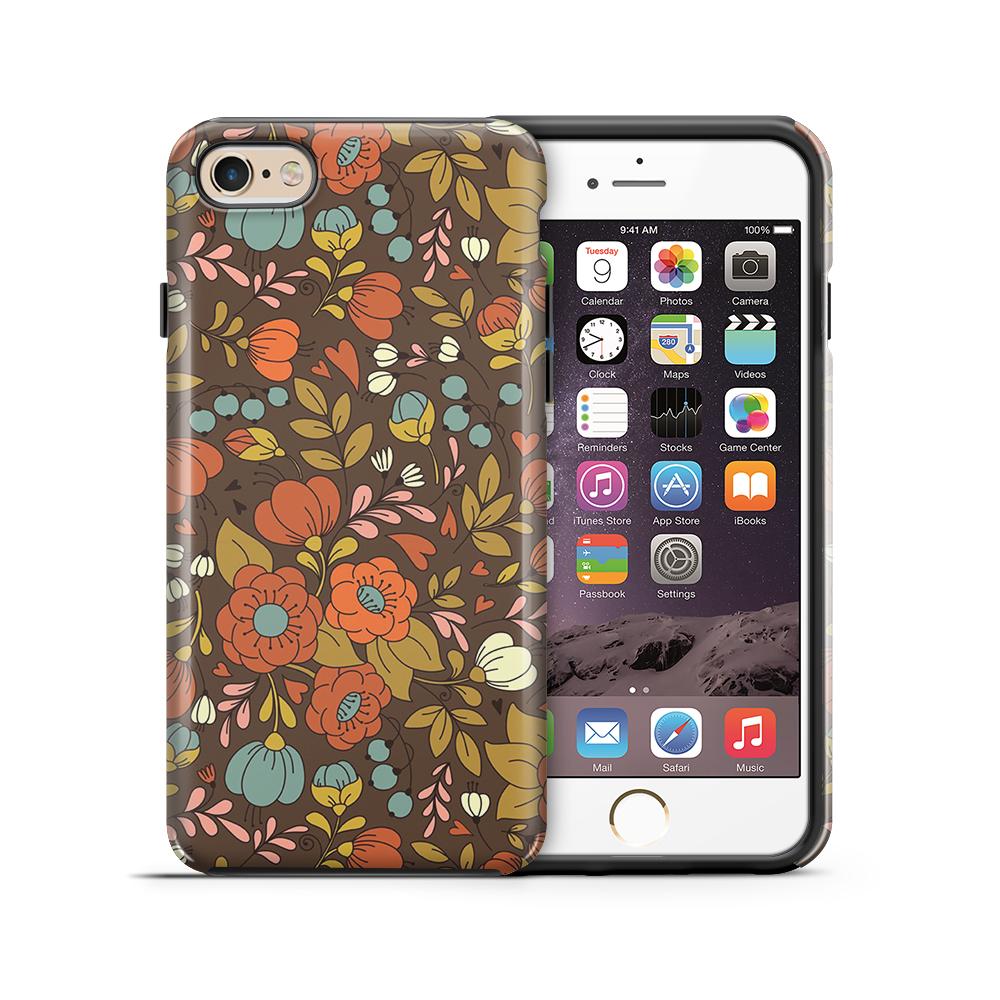 themobilestore-3Tough mobilskal till Apple iPhone 6(S) Plus - Retro Blommor - Brun