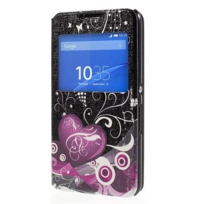 MobilFodral med fönster till Sony Xperia E4 - Två Hjärtan (Svart)