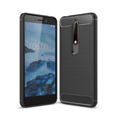 Carbon Brushed Mobilskal till Nokia 6.1 (2018) - Svart