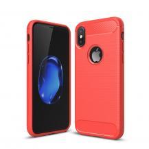 A-One BrandCarbon Fiber Brushed Mobilskal till iPhone XS / X - Röd
