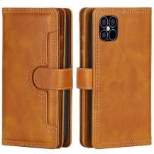 OEMMultiple Card Slots Äkta Läder Plånboksfodral iPhone 12 Pro Max - Brun
