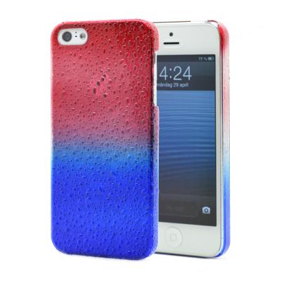 Baksidesskal till Apple iPhone 5/5S/SE Regndroppar (Blå/Röd)