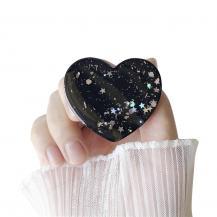 A-One BrandHeart Glitter Mobilhållare / Mobilgrepp - Svart