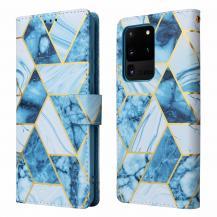 A-One BrandMarble Grid Plånboksfodral till Galaxy S21 Ultra - Blå