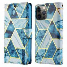 A-One BrandMarble Grid Plånboksfodral iPhone 12 & 12 Pro - Blå