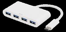 DeltacoDELTACO USB Typ C hubb, 4xUSB-portar, vit