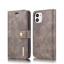 DG.MINGDG.MING Detachable Äkta Läder Plånboksfodral iPhone 12 Mini - Grå