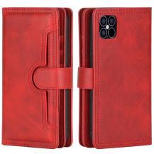 OEMMultiple Card Slots Äkta Läder Plånboksfodral iPhone 12 & 12 Pro - Röd