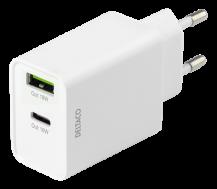 DeltacoDELTACO USB-väggladdare med dubbla portar och PD, 1x USB-A, 1x USB-C