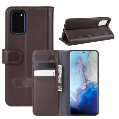 Äkta Läder Plånboksfodral till Samsung S20 Plus - Brun