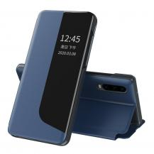 HurtelEco Leather View Case Fodral Huawei P30 Pro Blå