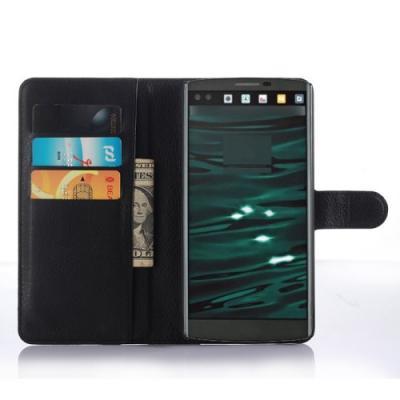 Lychee Skin Plånboksfodral till LG V10 - Svart