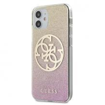 GuessGuess Skal iPhone 12 mini Glitter Gradient Circle Logo - Rosa Guld