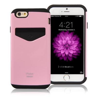 Mercury iPocket skal med kortplats till Apple iPhone 6(S) Plus - Rosa