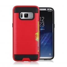 OEMBrushed Combo Mobilskal med kortplats Samsung Galaxy S8 - Röd