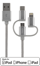 STREETZSTREETZ 3-i-1 tygklädd USB-synk/laddarkabel, 1m - Silver