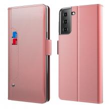 A-One BrandPlånboksfodral med Spegel Galaxy S21 Plus - Roséguld
