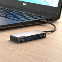 ALOGICALOGIC USB-A Fusion SWIFT 4-portars hubb - Rymdgrå