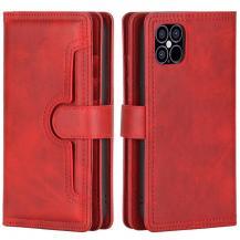 OEMMultiple Card Slots Äkta Läder Plånboksfodral iPhone 12 Pro Max - Röd