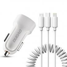DudaoDudao 2x USB 2.4A Laddare + 3in1 lightning/Type C/micro USB Vit