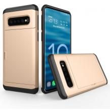 A-One BrandHybrid Armor med Kortplats till Samsung Galaxy S10E - Guld