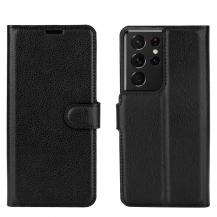 A-One BrandLitchi Plånboksfodral till Samsung Galaxy S21 Ultra - Svart