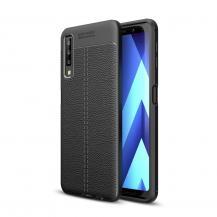 TaltechSkal i Lädertextur för Samsung Galaxy A7 2018 - Svart