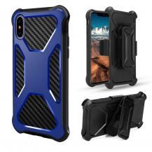 OEMCarbon Fiber Texture 2-in-1 mobilskal med bältesfodral iPhone XS / X - Blå