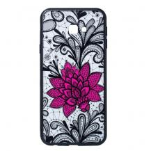 OEMEmbossed Flower Skal till Samsung Galaxy J4 Plus - Red Flower