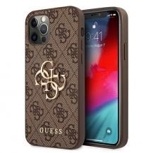 GuessGUESS Skal iPhone 12 & 12 Pro Metal Logo - Brun