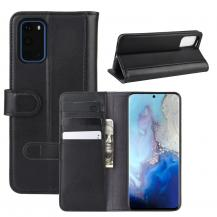 A-One BrandÄkta Läder Plånboksfodral till Samsung S20 Plus - Svart