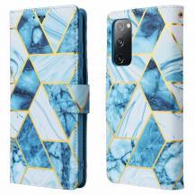 A-One BrandMarble Grid Plånboksfodral till Galaxy S20 FE - Blå