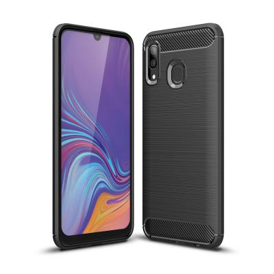 Carbon Brushed mobilskal till Samsung Galaxy A40 - Svart