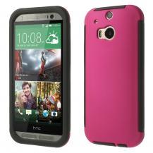 OEMCombo Skal med inbyggd skärmskydd till HTC One M8 (Magenta)