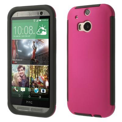 Combo Skal med inbyggd skärmskydd till HTC One M8 (Magenta)
